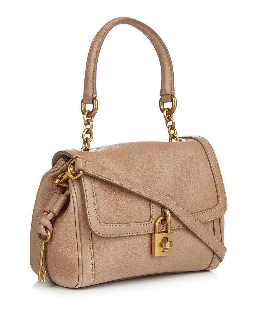 Dolce & Gabbana Nude leather lock front shoulder bag ...
