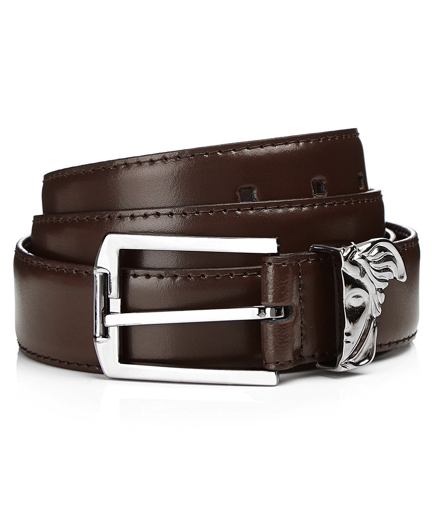 versace collection brown leather medusa belt