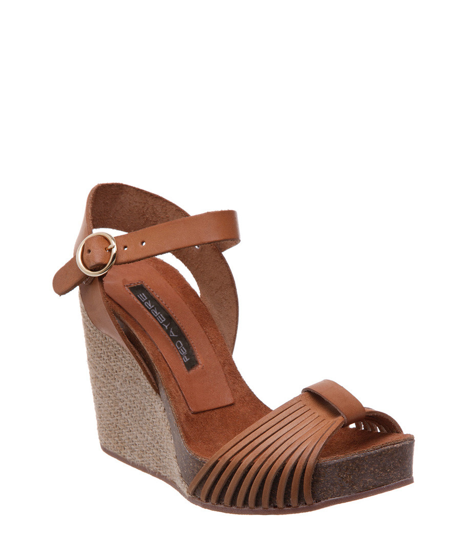 cf9b1754d40 Tan leather strap wedge sandals Sale - Pied a Terre