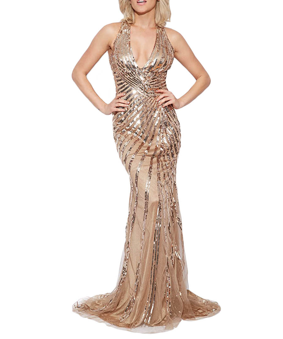 Key fashion goddess gold tone sequin maxi dress designer dresses
