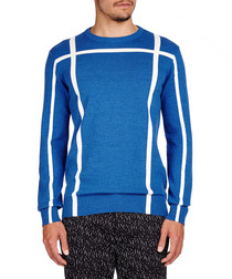 Blue cotton andamp; wool blend jumper