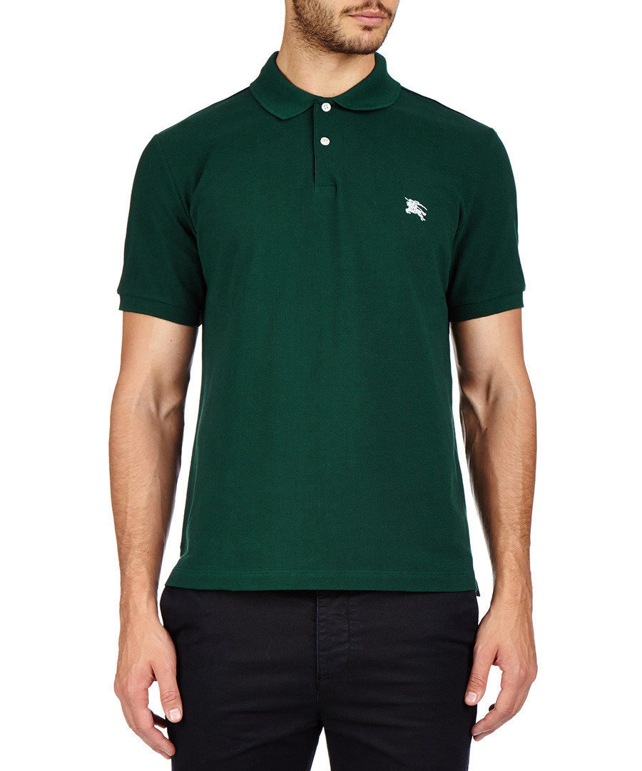 Burberry forest green pure cotton polo shirt designer for Forest green polo shirts