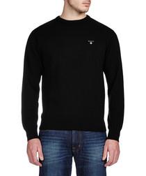 Black solid cotton jumper