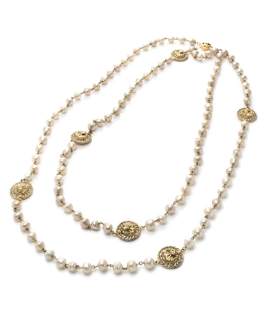 Gold-tone pearl logo necklace Sale - Chanel
