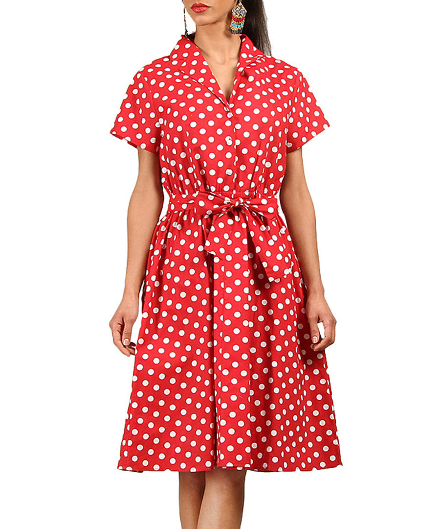 Red polka dot pure cotton shirt dress Sale - Kushi