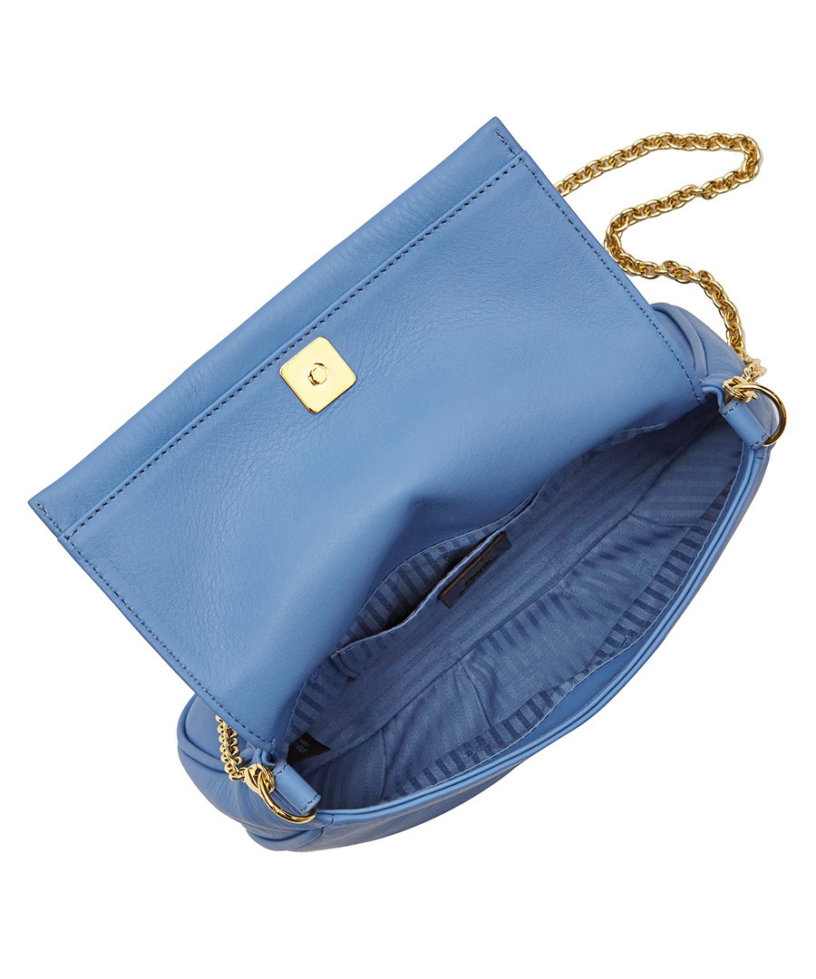 Home Fendi Handbags Baby blue leather  chain clutch bag