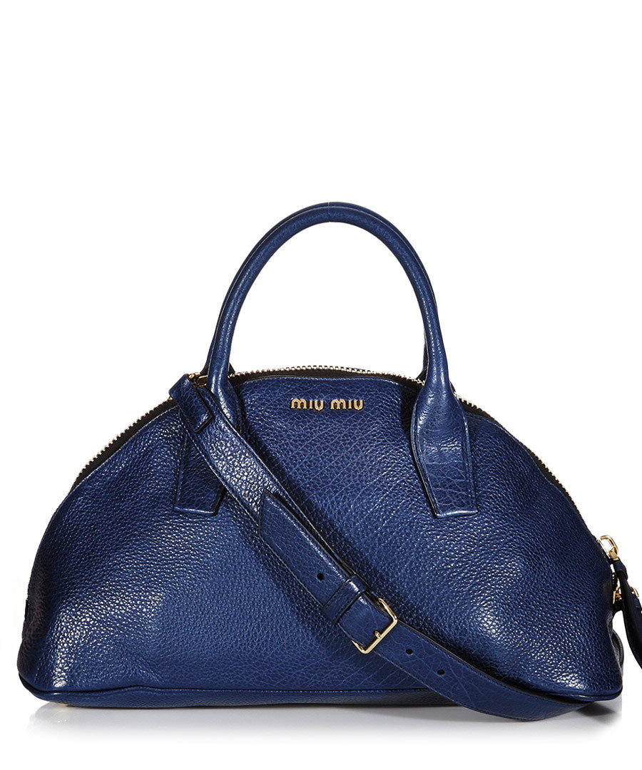 Blue leather bowling bag Sale - Miu Miu