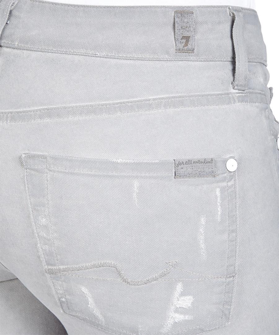 7 for all mankind cristen light grey cotton blend jeans. Black Bedroom Furniture Sets. Home Design Ideas