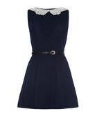 Black faux pearl collar mini dress