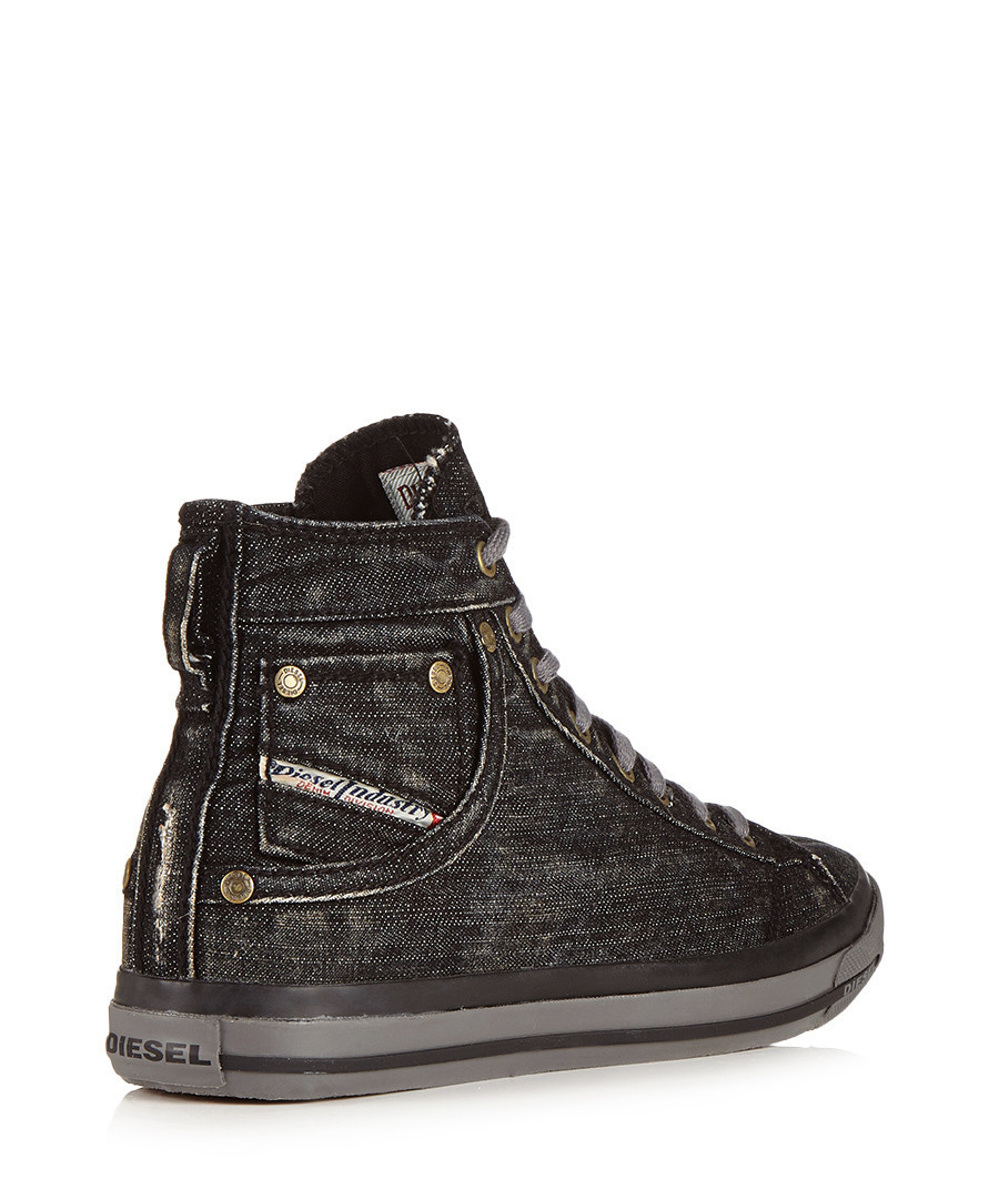 Diesel Men's black denim sneakers, Designer Footwear Sale ...