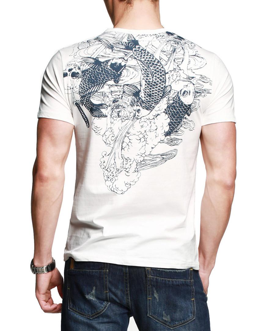 Kuegoe White Cotton Fish Print T Shirt Designer Topwear