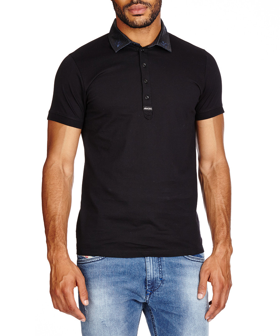 Diesel freiral black pure cotton polo shirt designer for Diesel tee shirts sale