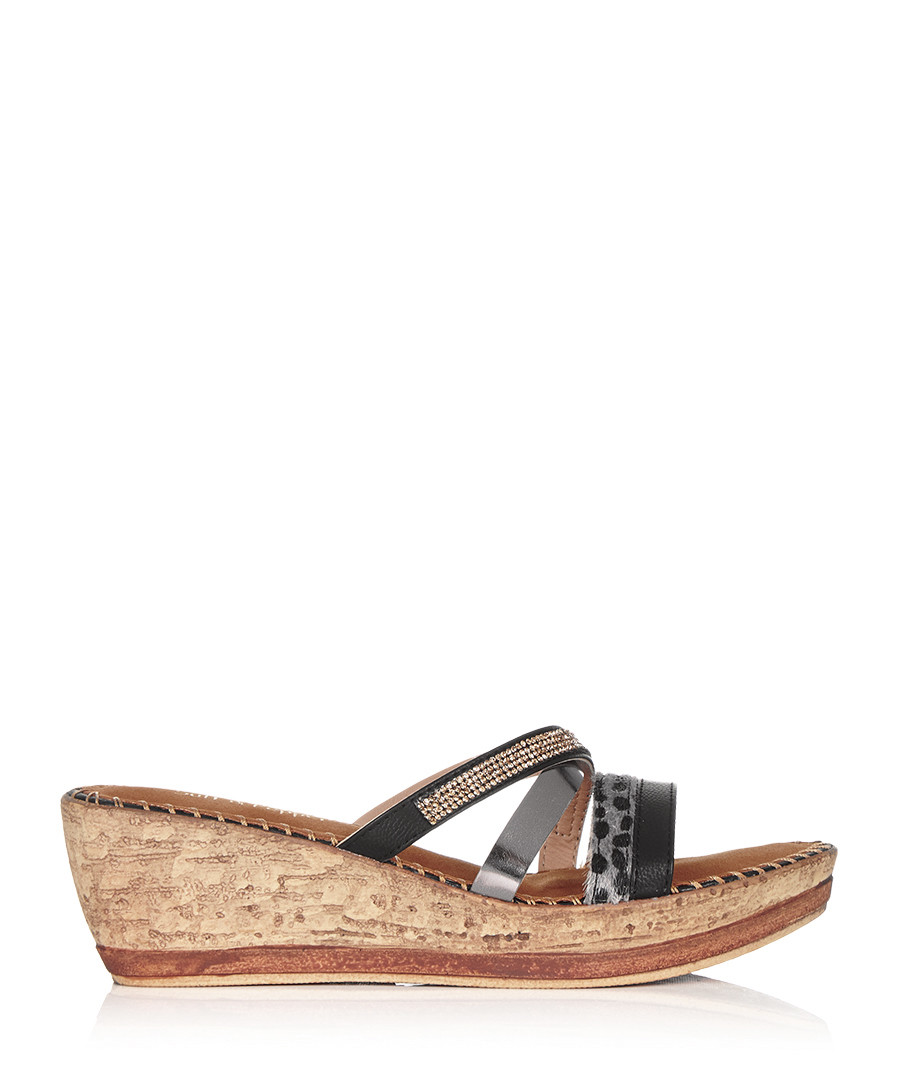SALT & PEPPER Black strappy slip-on wedge sandals ...