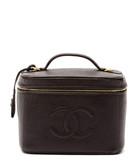 Brown 'CC' embossed leather vanity bag