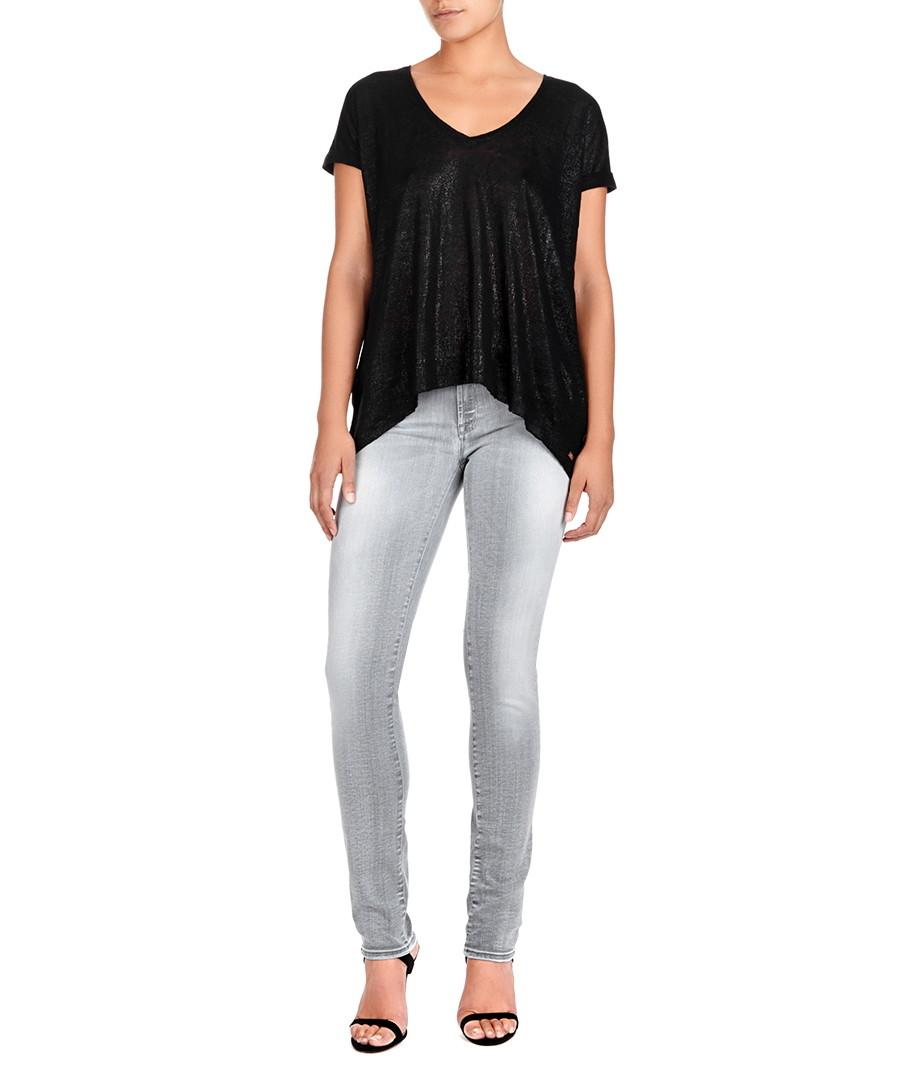 7 for all mankind cristen cotton blend grey skinny jeans. Black Bedroom Furniture Sets. Home Design Ideas