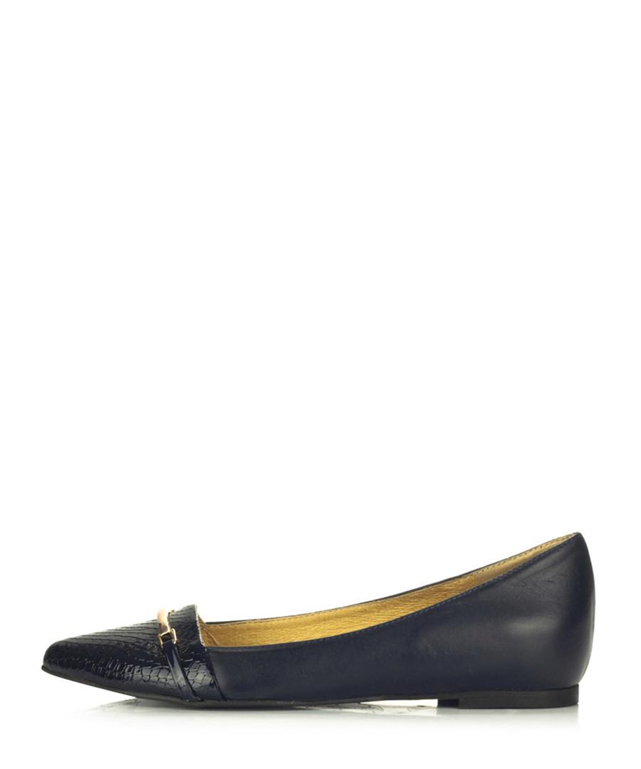 joana navy leather buckle flat shoes designer