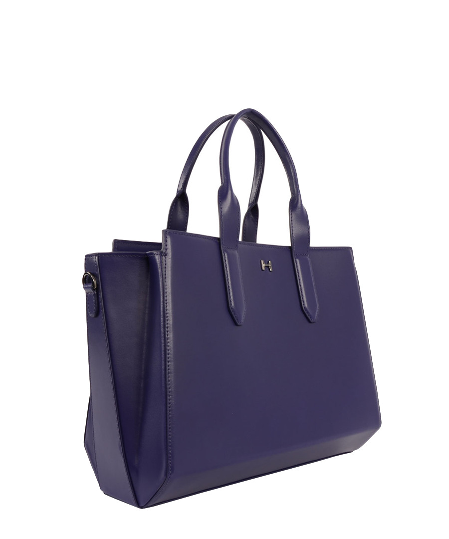 Home Halston Heritage Handbags Purple leather structured tote bag
