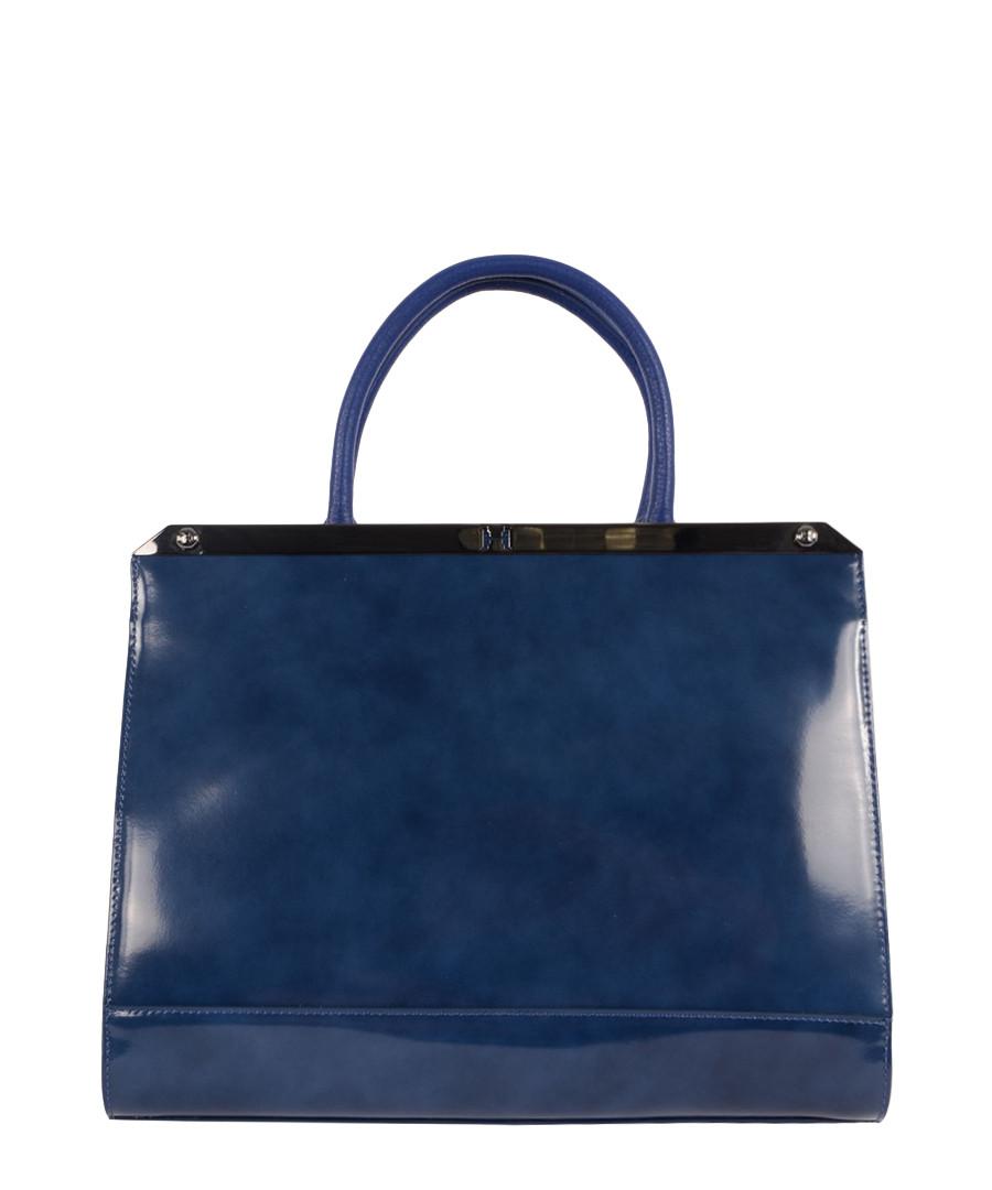 Home Halston Heritage Handbags Large blue patent leather tote bag