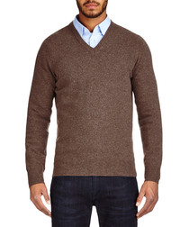 Brown cashmere blend V neck jumper