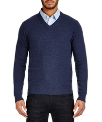 Blue pure lambswool V neck jumper