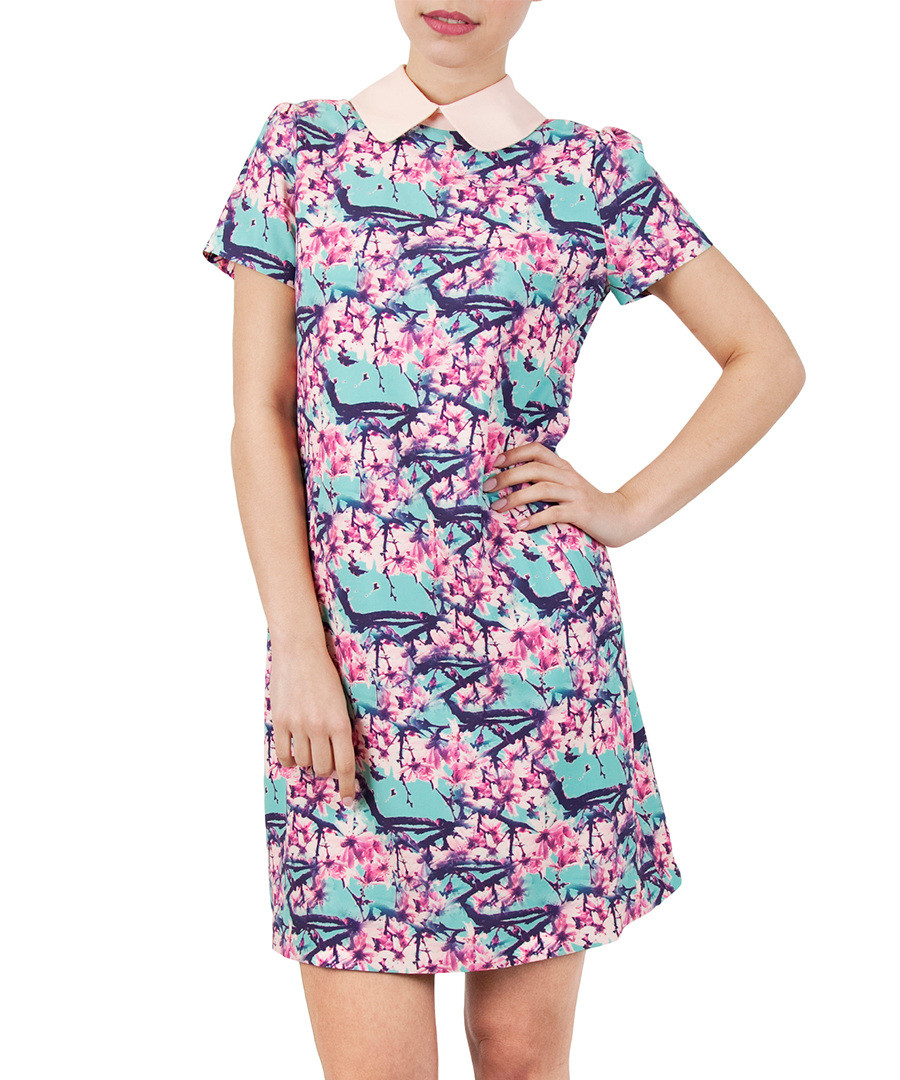 Pink Blue Blossom Print