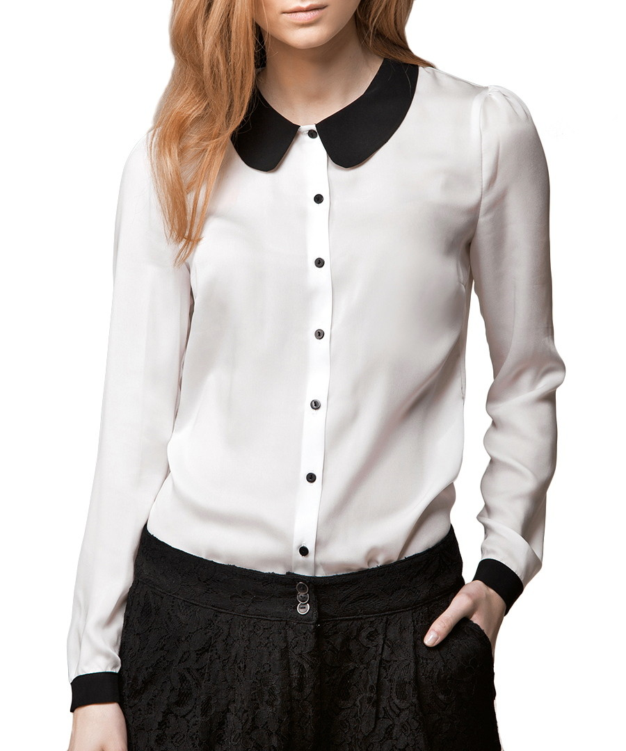 Women'S White Blouse With Black Collar 44