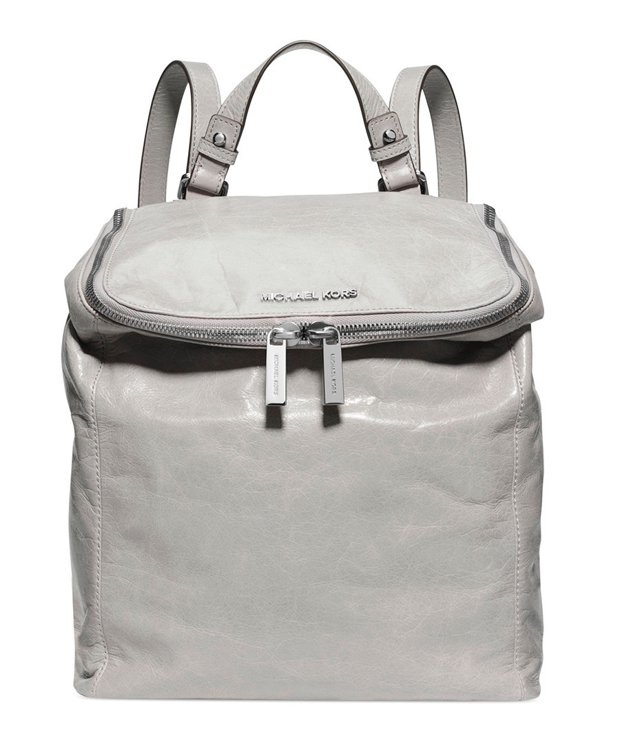 michael kors lisbeth grey leather medium backpack. Black Bedroom Furniture Sets. Home Design Ideas