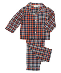 Boy's 1 8y red cotton checked pyjamas