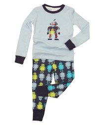 Boy's 2 10y blue cotton robot pyjamas