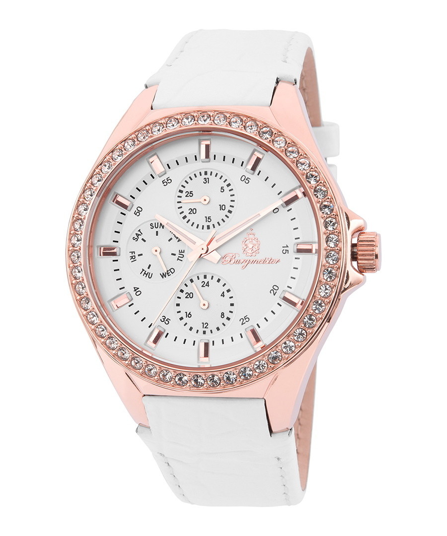 White leather Swarovski chrono watch Sale - Burgmeister