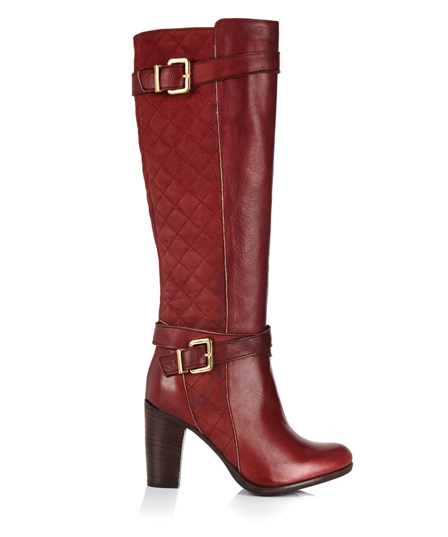 Bordeaux leather & buckle heeled boots Sale - W11 ATELIER ITALIAN COLLECTION