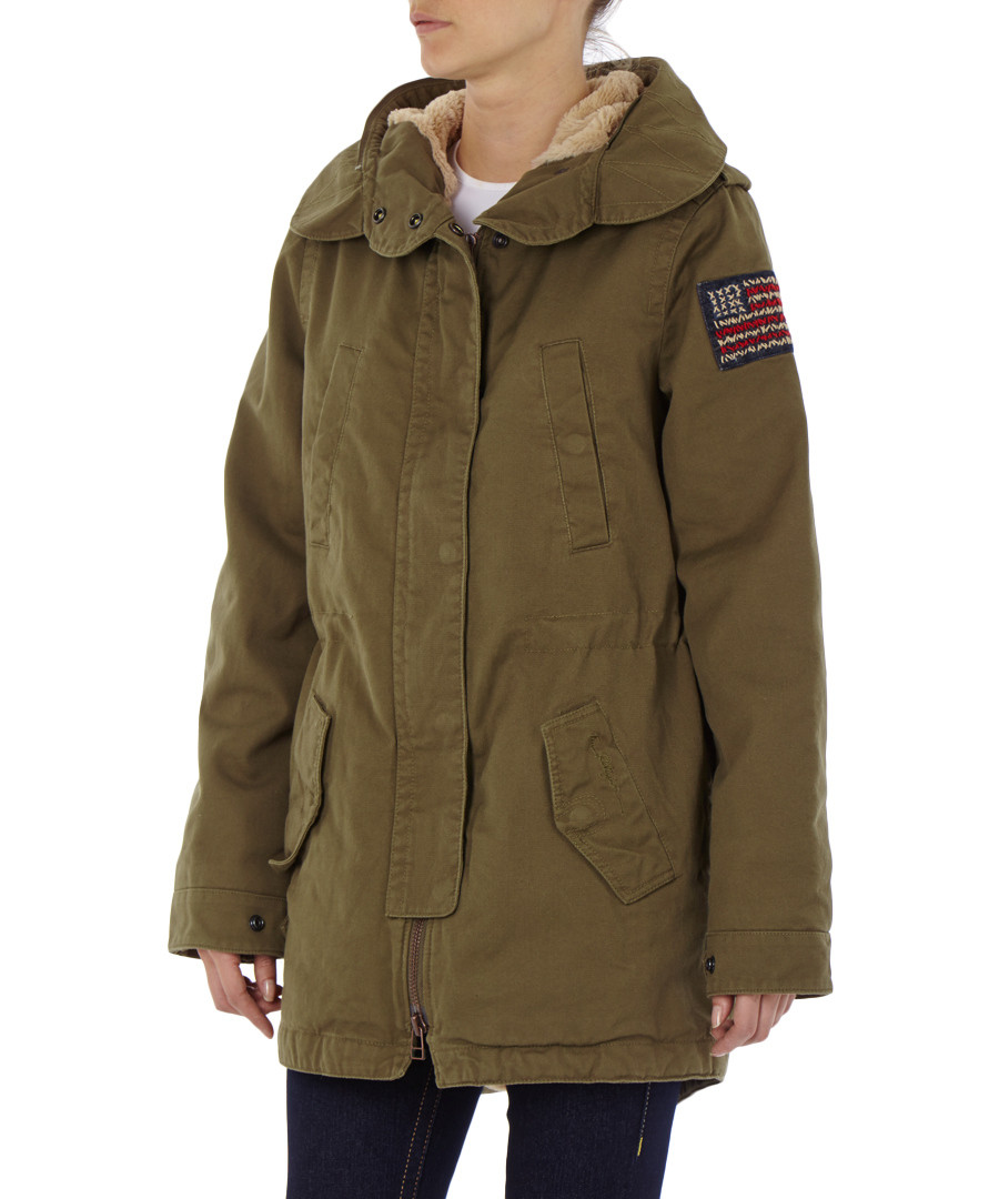 true religion military green faux fur hooded parka. Black Bedroom Furniture Sets. Home Design Ideas