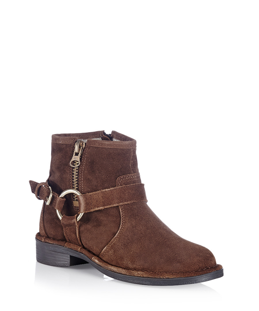 carvela kurt geiger tough brown suede zip up ankle boots