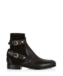Black equestrian studded ankle boots