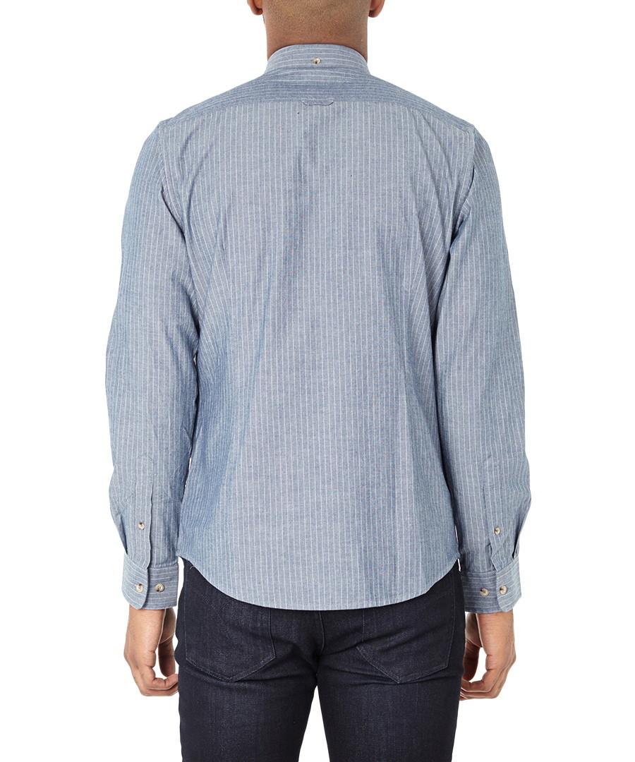ben sherman blue thin stripe pure cotton shirt designer topwear sale back to work wardrobe. Black Bedroom Furniture Sets. Home Design Ideas