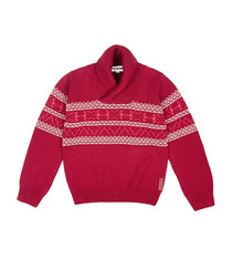 Boy's 3 7yrs crimson fairisle jumper