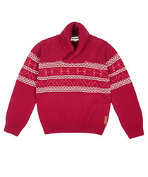 Boy's 8 15yrs crimson Fair Isle jumper