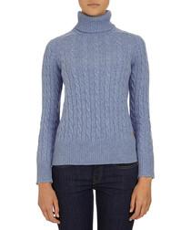 Blue wool andamp; silk blend turtleneck jumper