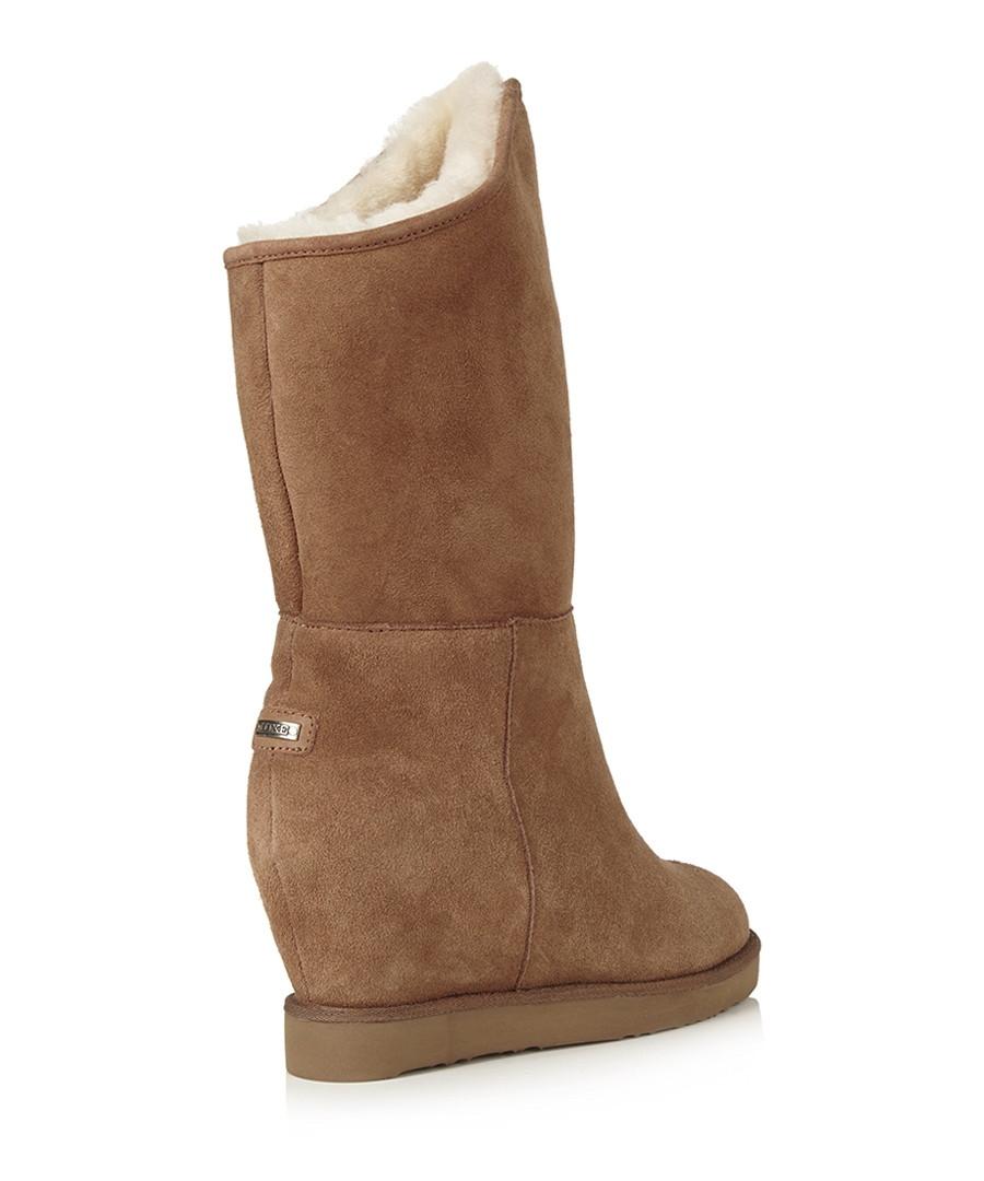 australia luxe cosy chestnut sheepskin wedge boots