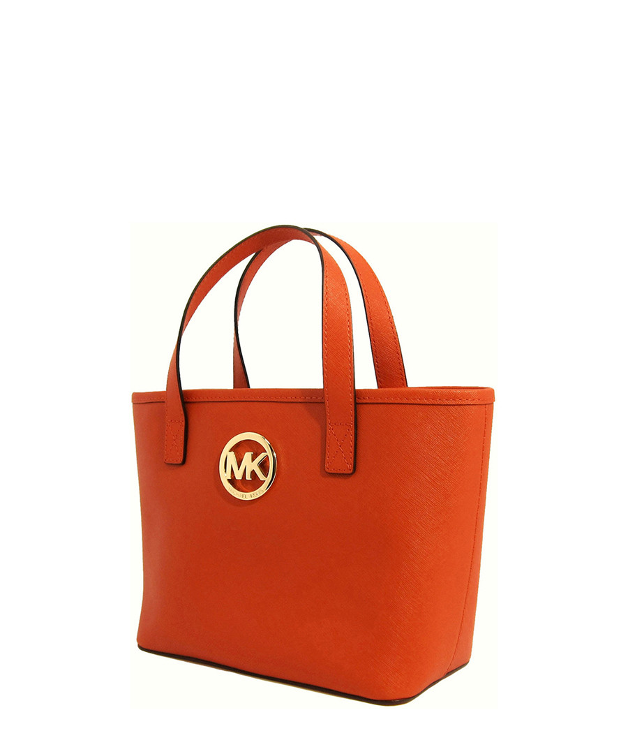 michael kors xs jet set orange leather travel tote. Black Bedroom Furniture Sets. Home Design Ideas