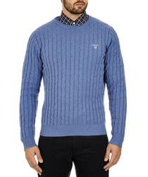 Blue pure cotton cable knit jumper