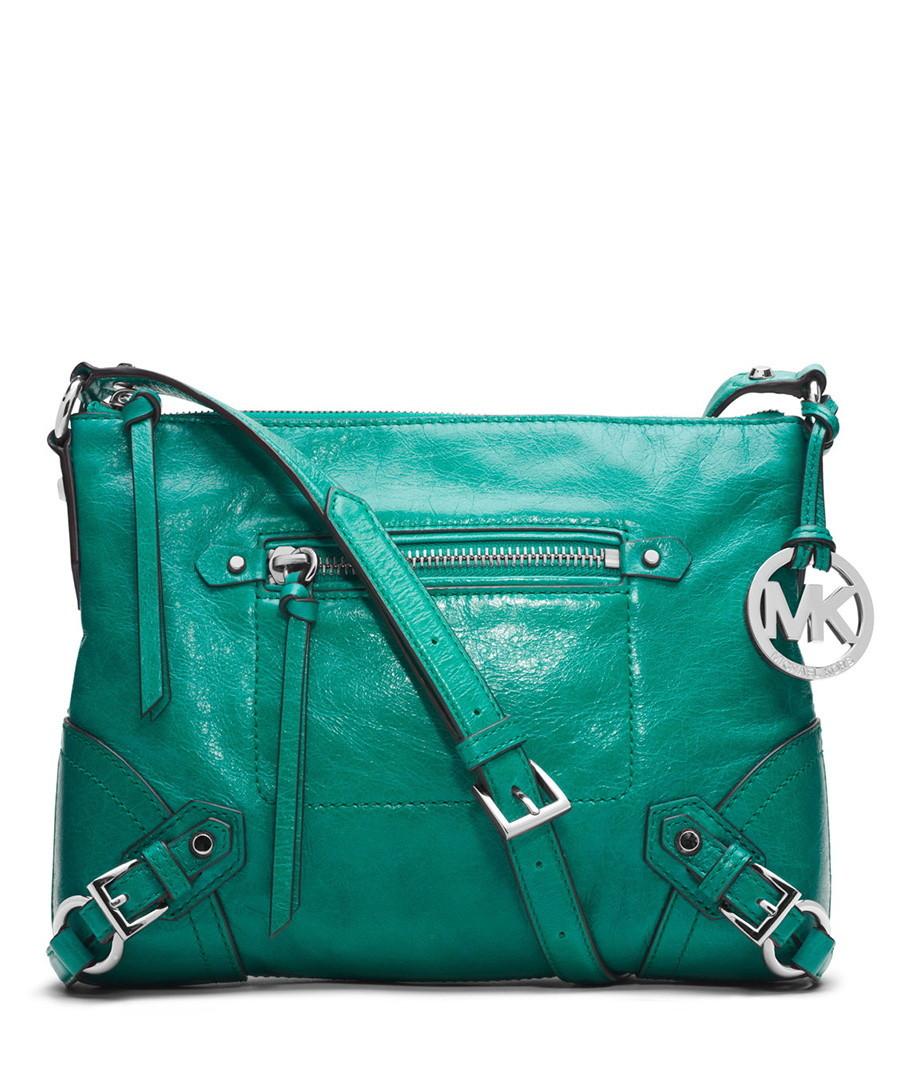 Michael kors fallon medium aqua leather messenger designer bags sale