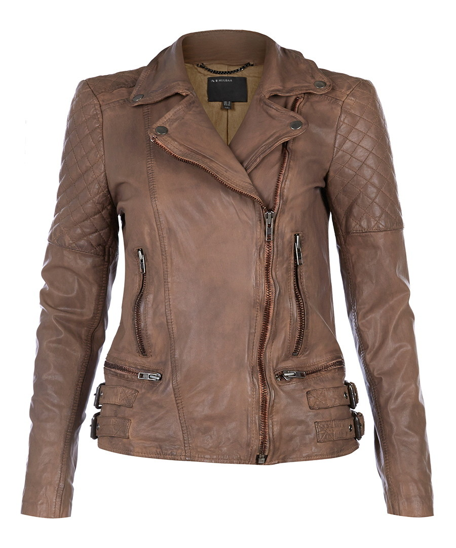 Rokel taupe leather biker jacket  Sale - Muubaa