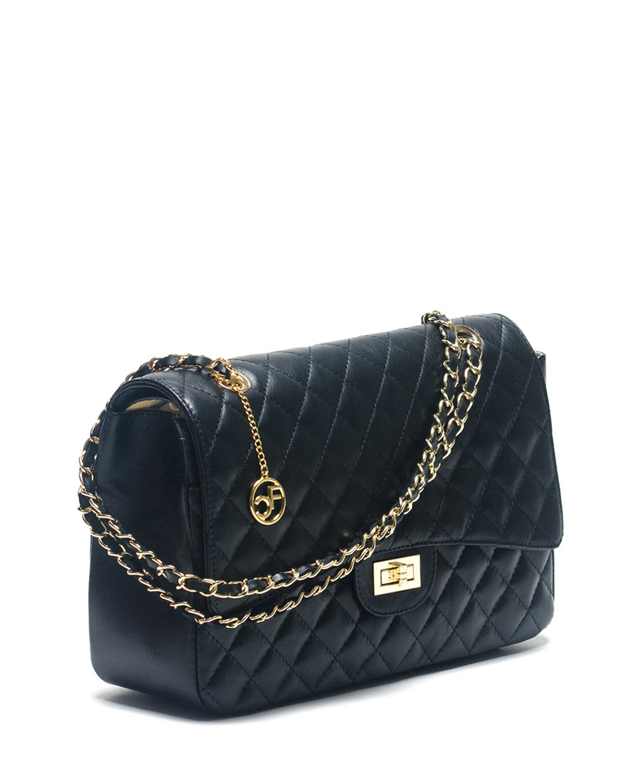 Black Leather Over Shoulder Bag 112