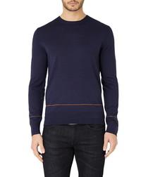 Blue andamp; brown pure wool jumper