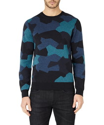 Blue camo pure wool jumper