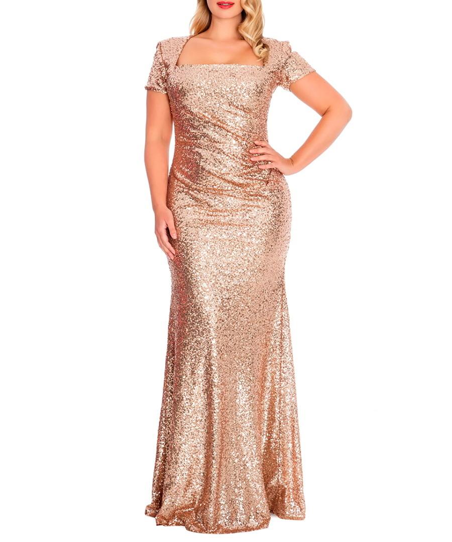 Goddiva champagne sequin maxi dress designer dresses sale for Champagne seguin
