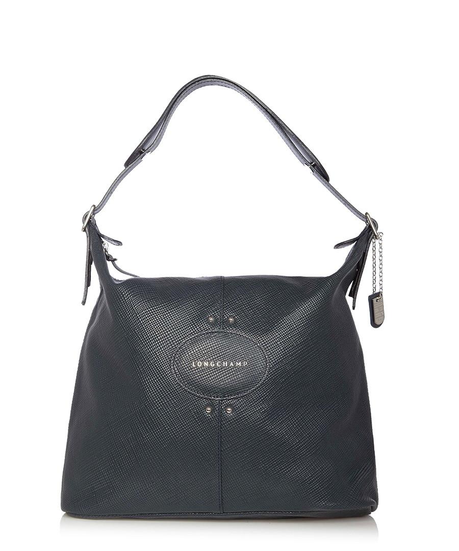 longchamp quadri navy leather slouch bag designer bags sale outlet secretsales. Black Bedroom Furniture Sets. Home Design Ideas