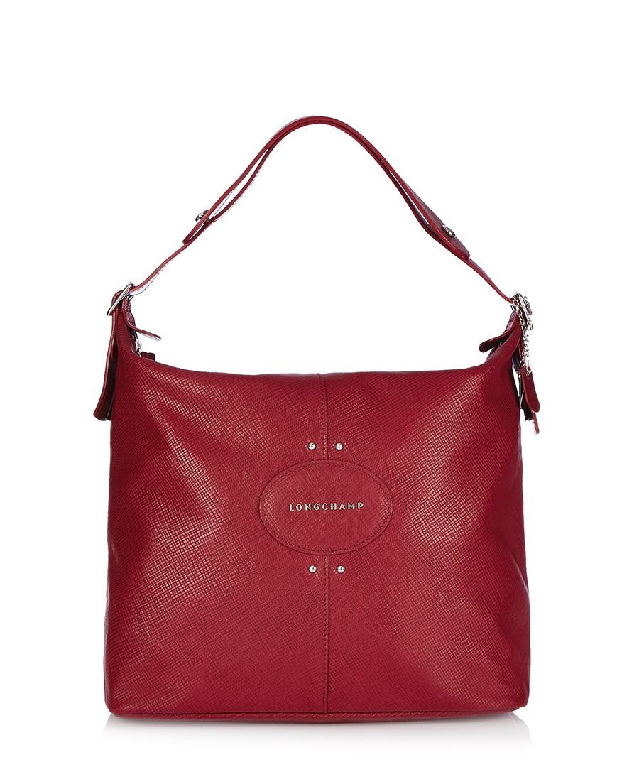 longchamp quadri red leather slouch bag designer bags sale longchamp handbags secretsales. Black Bedroom Furniture Sets. Home Design Ideas