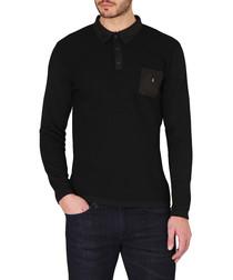 Black wool blend polo top